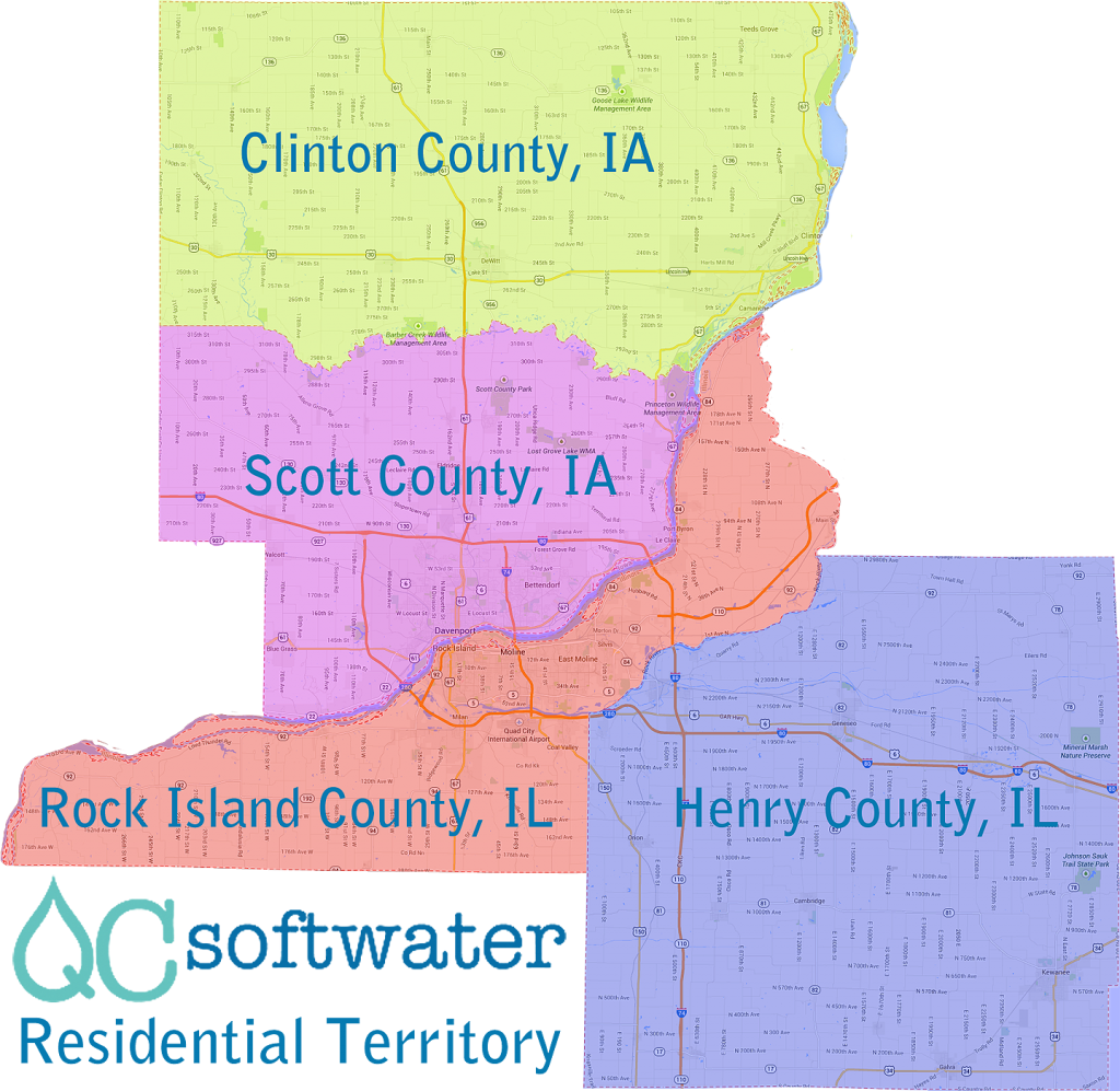 Residential Territory for Quad Cities Soft Water an Authorized Kinetico Dealer.